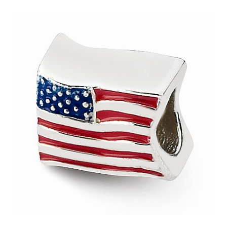 Sterling Silver Reflections USA Flag Bead