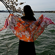 Sunset Pink Cherry Blossom Pashmina Scarf