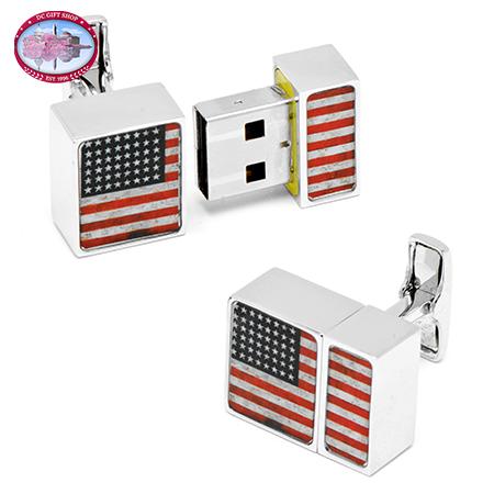 USA Flag 4GB USB Flash Drive Cufflinks