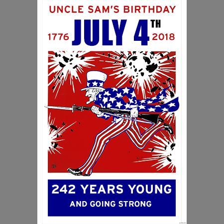 July 4th 2018 Uncle Sam Birthday Print
