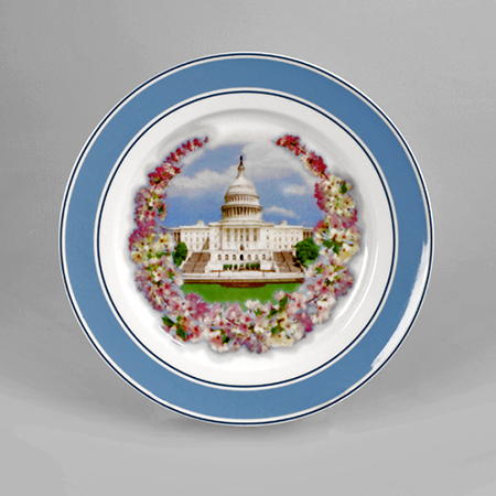 United States Capitol Cherry Blossom Porcelain Plate