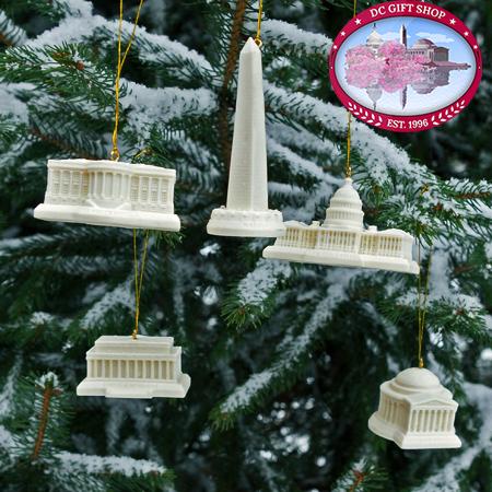 Washington DC Memorial Ornament Set